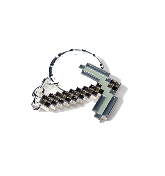 Key-Chain-Minecraft-Pickaxe-Axe-Silver-Metal-New-Toys-Gifts-Licensed-j2872